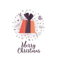 merry christmas poster with gift and icons vector image