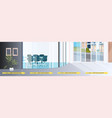 office corridor with signs for social distancing vector image vector image