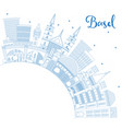 outline basel switzerland city skyline with blue vector image vector image