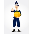 pilgrim man holding a pumpkin vector image vector image