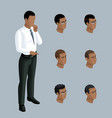 qualitative isometry 3d businessman shows a man vector image vector image