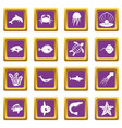 sea animals icons set purple vector image