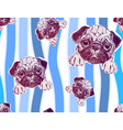 seamless pattern with cute pug puppy and colorful vector image