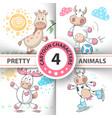 set cartoon animals cow deer bull giraffe vector image