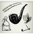 set sketches tobacco vector image vector image