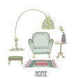 Shelf and lamp - Set of design elements vector image vector image
