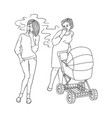 sketch woman smoking near mom baby stroller vector image vector image