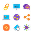 social and connect colored trendy icon pack 1 vector image