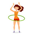 Sport girl turns the hula hoop fitness healthy
