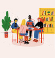 students sitting together at table with books and vector image