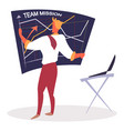 team mission man drawing chart on board vector image