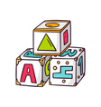 Toy cubes isolated on white vector image vector image