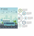 transporation infographic bus at the bus stop vector image vector image