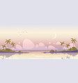 tropical island at early morning sea and palms vector image