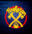 vintage fireman emblem glowing neon vector image