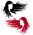 woman with curly long hair vector image