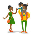 young african-american family strolling vector image