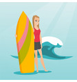 young caucasian surfer holding a surfboard vector image vector image
