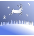 Abstract background with paper cut deer vector image