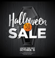 hallowen sale with coffin and holiday elements on vector image