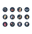 Consequences of smoking round flat icons vector image