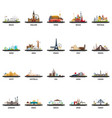 big set of travel locations vacation and trip vector image