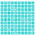 100 information technology icons set grunge blue vector image vector image