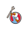 American Bald Eagle Mechanic Spanner Cartoon vector image vector image