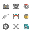 Auto service flat line icons vector image
