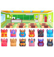 back to school classroom and backpack vector image