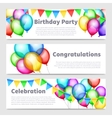 Birthday party banners with celebration rainbow vector image vector image