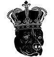 black silhouette dog with crown vector image vector image