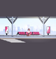 businesswoman sitting modern bus stop business vector image vector image