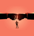 businesswoman watching two giant fist clashed vector image vector image