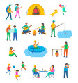 camping and tourists outdoor activity travel vector image