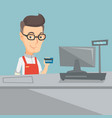 cashier holding a credit card at the checkout vector image vector image