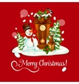 Christmas Day greeting card with snowman and clock vector image