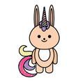 cute fantasy rabbit with unicorn horn vector image