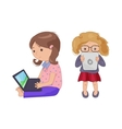 Cute young girl with computer laptop tablet e