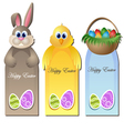 Easter greeting card set with cartoon characters vector image