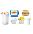 fast food mock up set white clean blank vector image vector image
