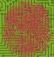 Fingerprint pressed onto a Digital Circuit Board vector image vector image