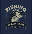 fishing club with bass fish vector image vector image