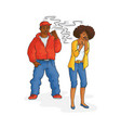 flat african man smoking woman angry vector image vector image