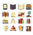 flat book icons library books open dictionary vector image vector image