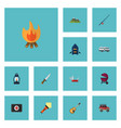 flat icons music penknife hill and other vector image