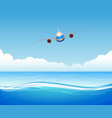 flying plane over sea vector image vector image