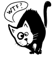Funny black cat with speech bubble vector image