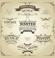 hand drawn western banners and ribbons vector image vector image