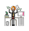 indian businessman throwing money in the air vector image